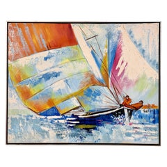 Mid-Century Modern Original Oil Painting America's Cup Sailboats Racing Yachts