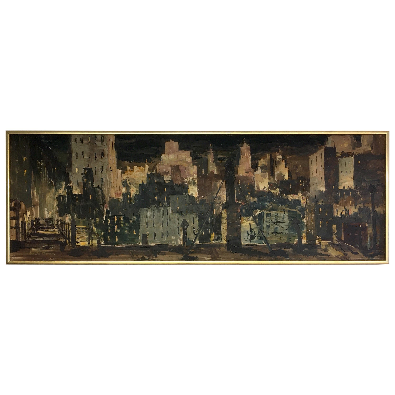 Mid-Century Modern Original Oil Painting by Joe B. Thomas Abstract Cityscape