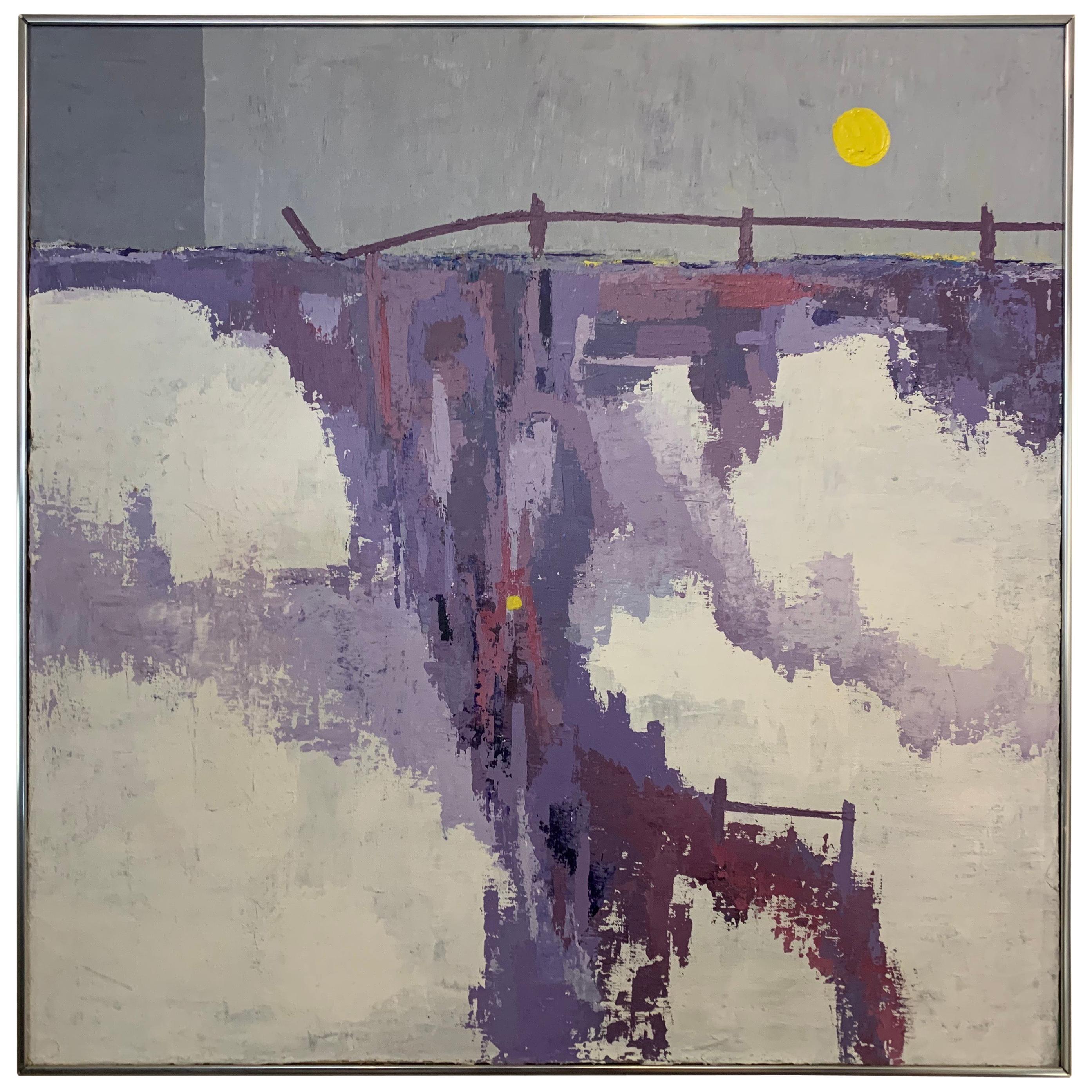 Mid-Century Modern Original Oil Painting circa 1960s Abstract