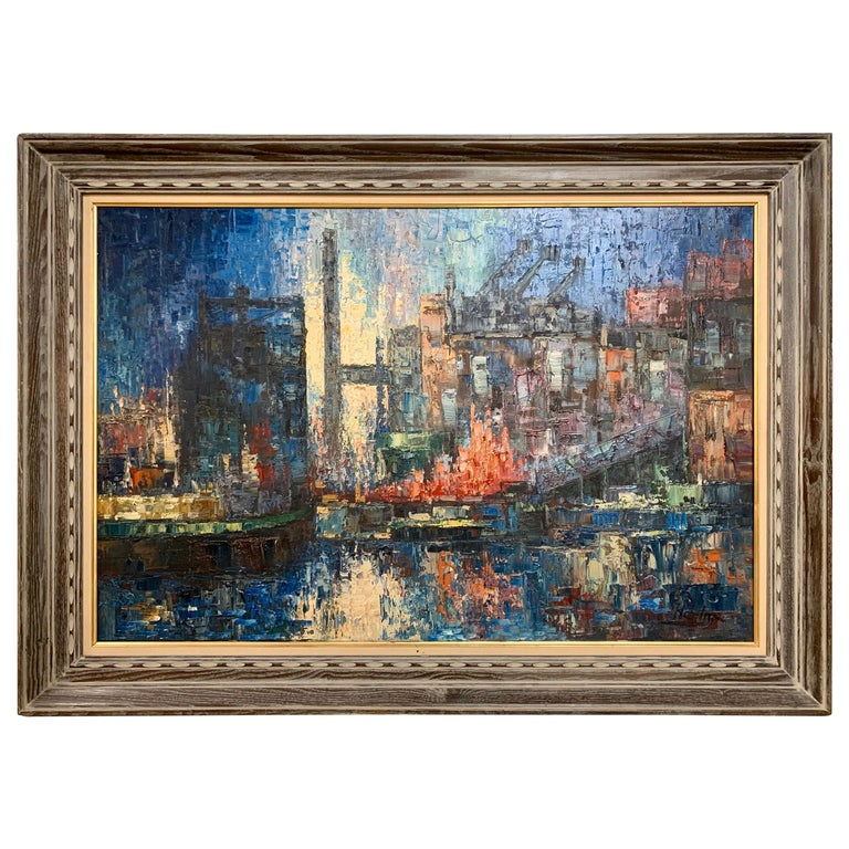 Small Cityscape Original Oil  Painting Abstract Cityscape Artwork Abstract Blue Original Oil Italy Painting