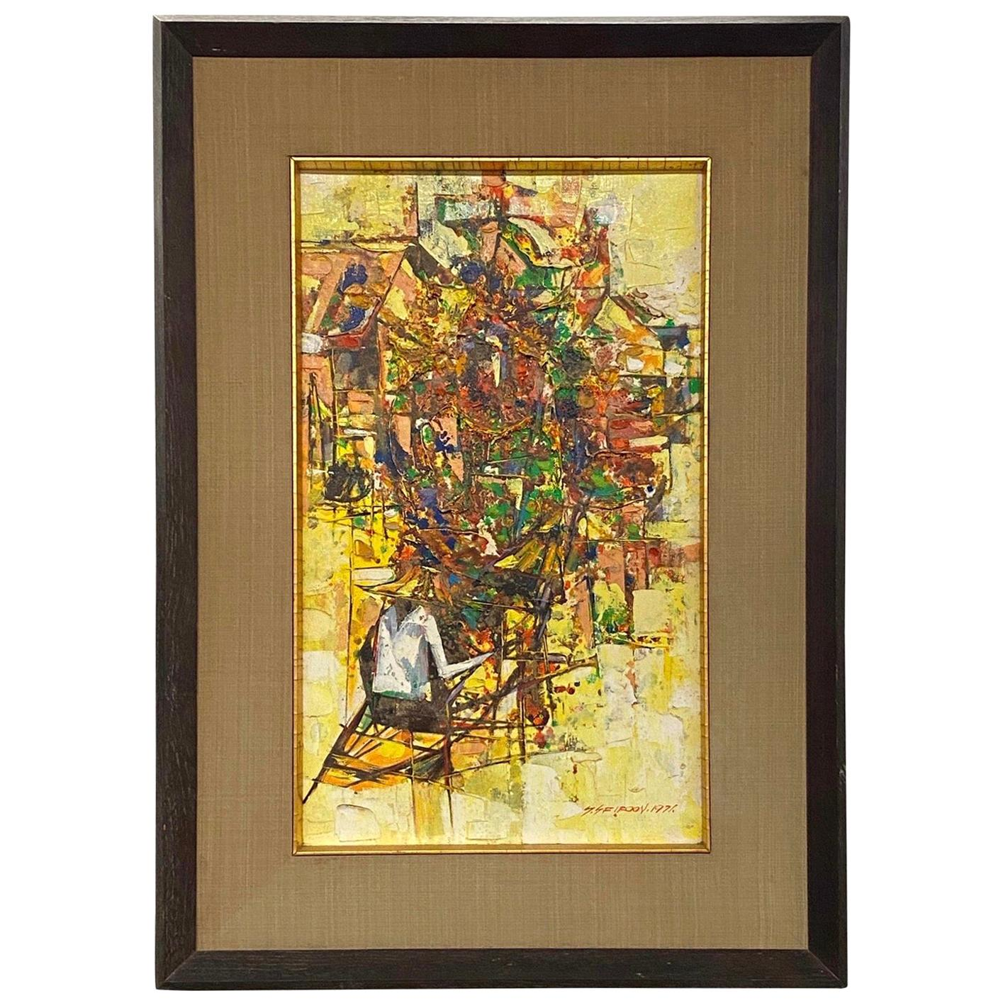 Mid-Century Modern Original Oil Painting Signed by Artist S. Sfiroon, 1971