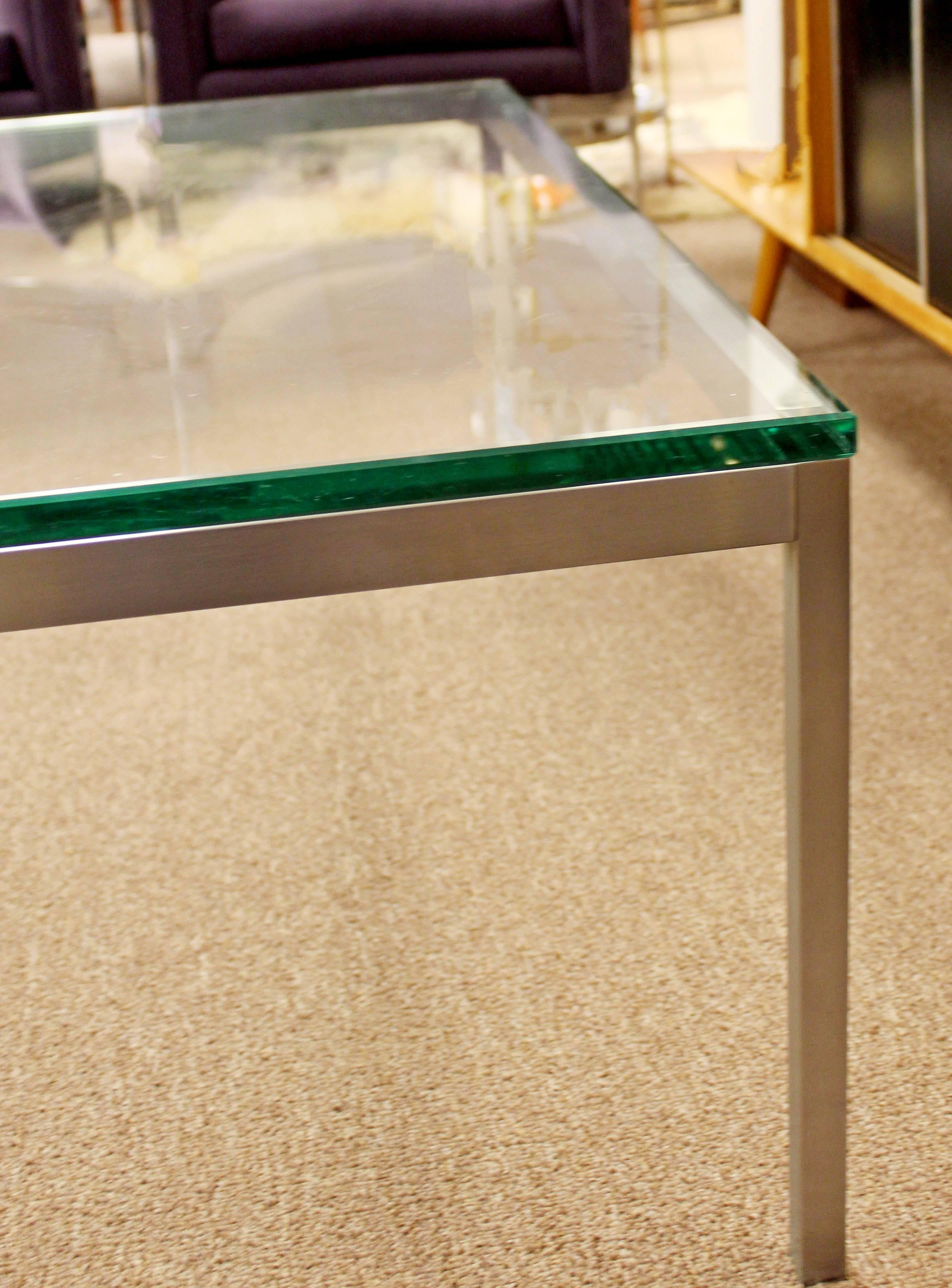 Mid Century Modern Original Vintage Large Knoll Metal Glass Square Coffee  Table In Good Condition