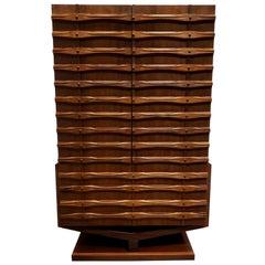 Mid-Century Modern Ornate Brutalist High Chest Wardrobe