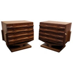 Mid-Century Modern Ornate Brutalist Nightstands