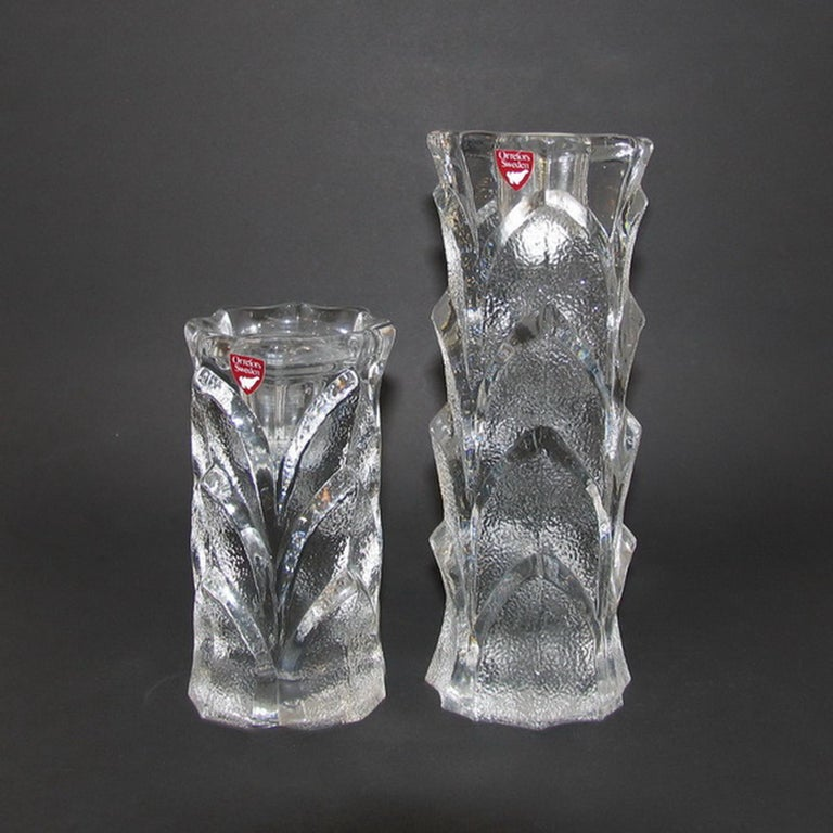 Swedish Mid-Century Modern Orrefors Crystal Candleholders For Sale