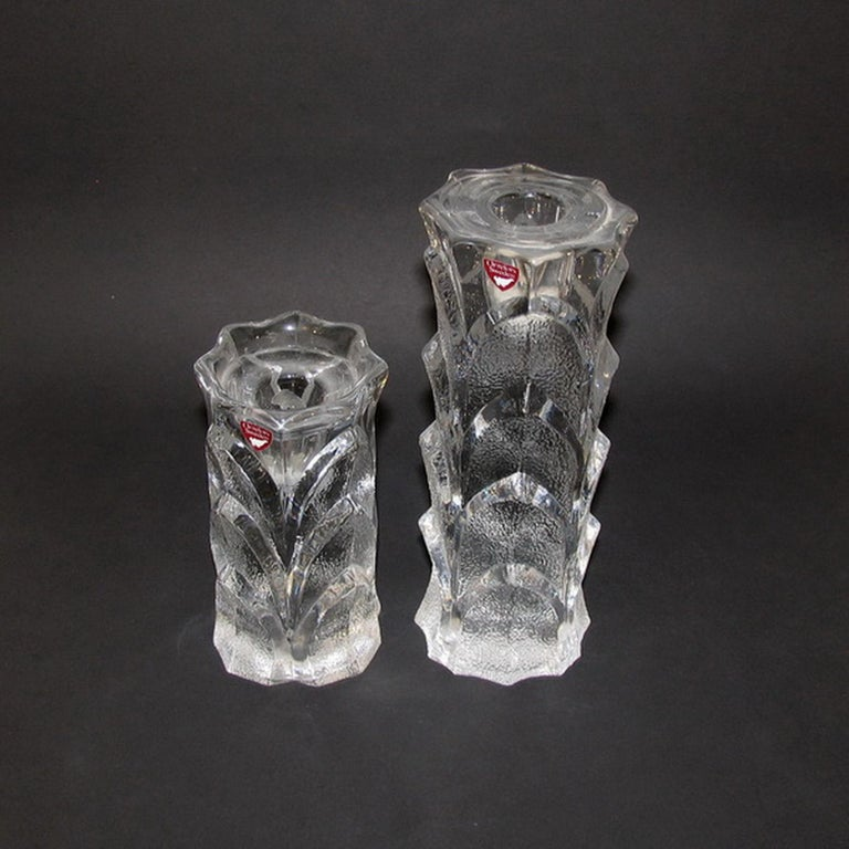 Mid-Century Modern Orrefors Crystal Candleholders In Excellent Condition For Sale In Bochum, NRW