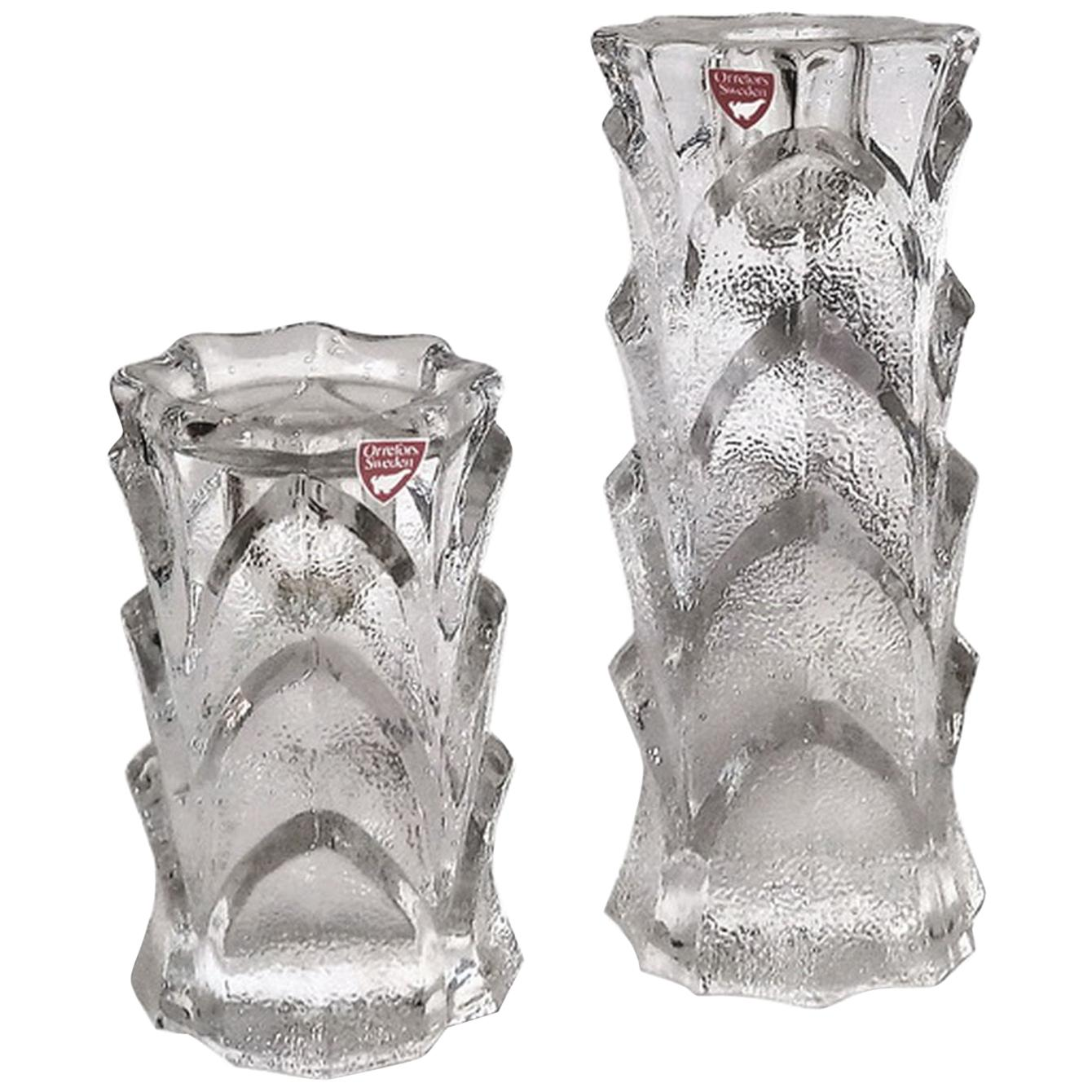 Mid-Century Modern Orrefors Crystal Candleholders