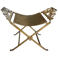 Mid-Century Modern Oscar Bach Style Iron X-Base Bench Stool with Winged Griffins