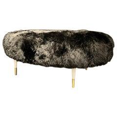 Mid-Century Modern Ottoman Having Bradley Hughes Sheepskin Upholstery