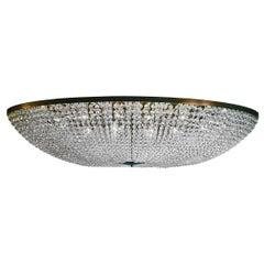 Mid-Century Modern Oval Beaded 6000 Hand Cut Crystals Chandelier, Bespoke