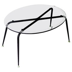 Mid-Century Modern Oval Black Glass Brass French Center Table, 1950