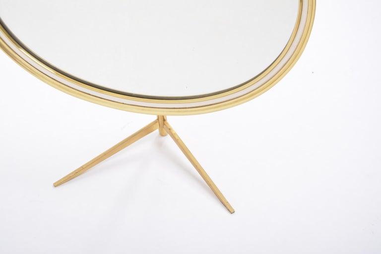 Mid-Century Modern Oval Brass Table Mirror by Vereinigte Werkstätten For Sale 5