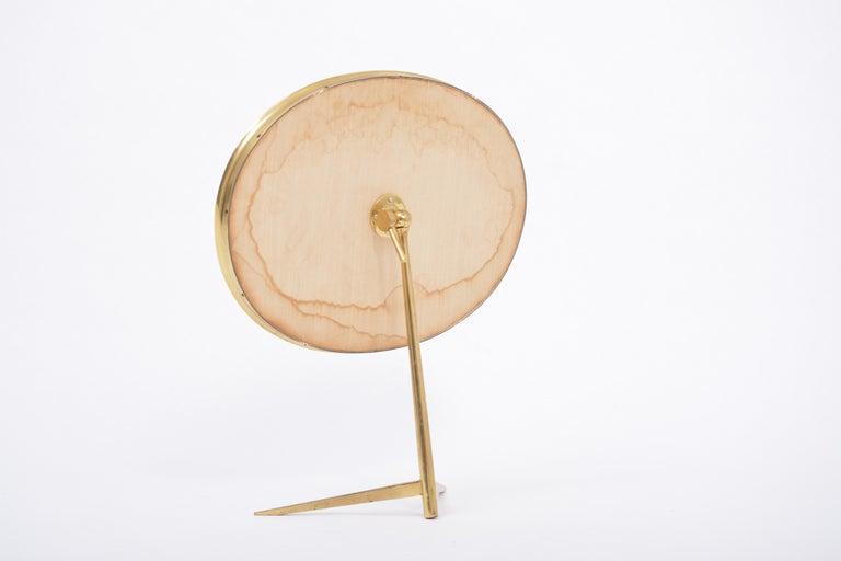 Mid-Century Modern Oval Brass Table Mirror by Vereinigte Werkstätten For Sale 2