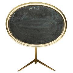 Mid-Century Modern Oval Brass Table Mirror by Vereinigte Werkstätten