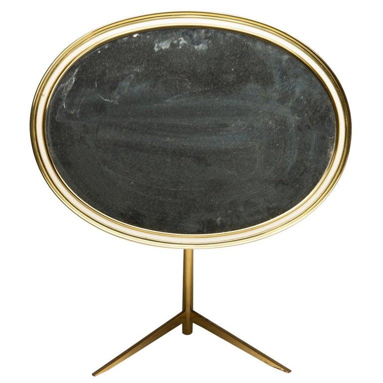 Mid-Century Modern Oval Brass Table Mirror by Vereinigte Werkstätten For Sale