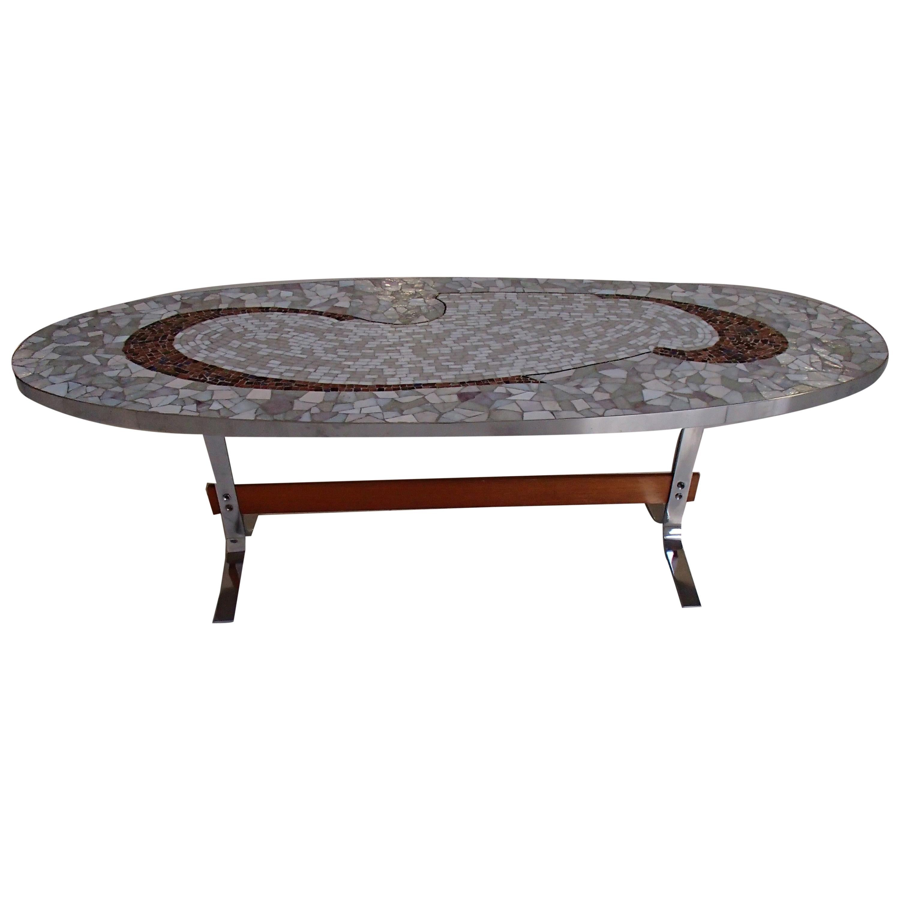Mid-Century Modern Oval Chrome and Mosaic Low Table