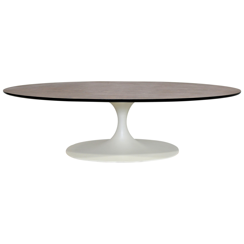Mid-Century Modern Oval Coffee Table Formica Wood Top Tulip Saarinen Style 1960s