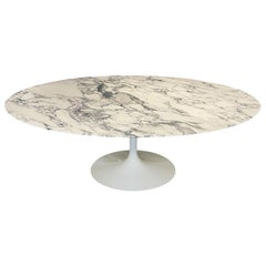 Mid-Century Modern Oval Dining Table by Eero Saarinen for Knoll in White Marble