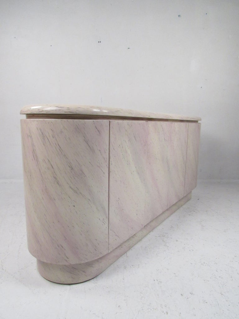 Mid-Century Modern Oval Faux Marble Credenza In Good Condition For Sale In Brooklyn, NY