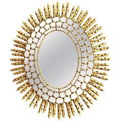 Mid-Century Modern Oval Sunburst Mirror in Giltwood