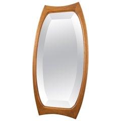 Mid-Century Modern Oval Wall Mirror in Teak, Denmark 1960