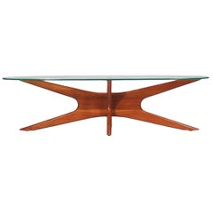 Mid-Century Modern Oval Walnut and Glass Cocktail Table by Adrian Pearsall
