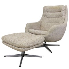 Mid-Century Modern Overman AB Swedish Chrome Swivel Lounge Chair & Ottoman