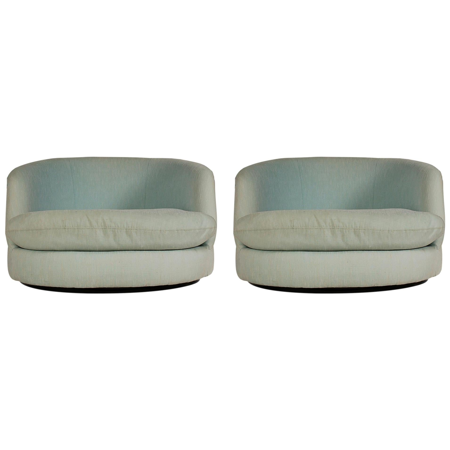 Mid-Century Modern Oversized Swivel Chaise Lounge Tub Chairs by Milo Baughman