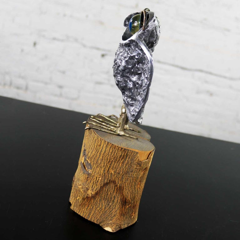 Acrylic Mid-Century Modern Owl Sculpture by Curtis Jere in Cast Aluminum on Wood Stump For Sale
