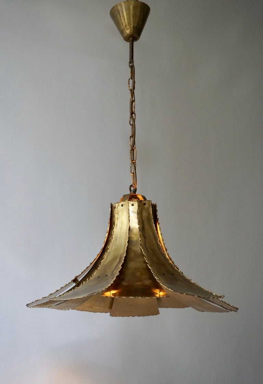 Danish Mid-Century Modern Oxidized Brass Brutalist Chandelier by Sorensen Denmark 1960s For Sale