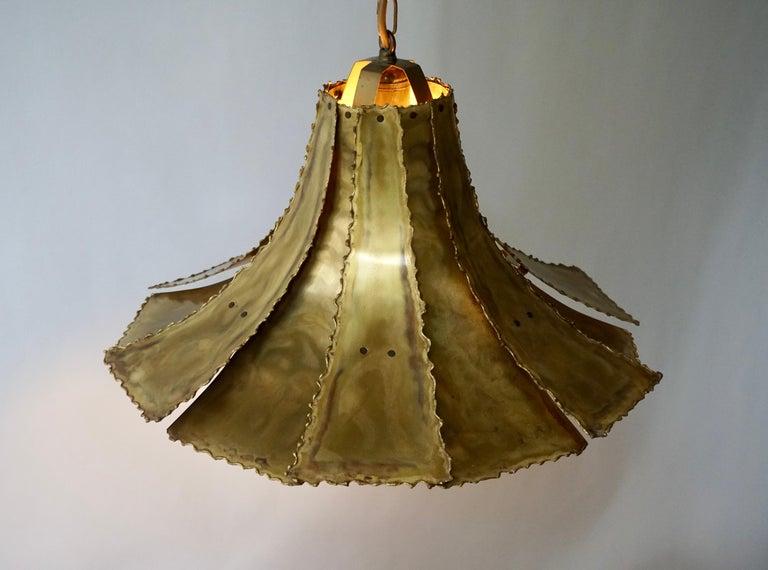 Mid-Century Modern Oxidized Brass Brutalist Chandelier by Sorensen Denmark 1960s For Sale 3