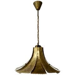 Mid-Century Modern Oxidized Brass Brutalist Chandelier by Sorensen Denmark 1960s