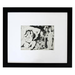 Mid-Century Modern Pablo Picasso Black White Circus Signed Framed, 1950s