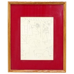 Mid-Century Modern Pablo Picasso Dos Contesis Burin Etching Framed, 1940s