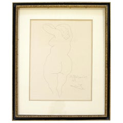 Mid-Century Modern Pablo Picasso Femme Nu De Dos Etching Framed 1956 Nude
