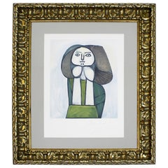 Mid-Century Modern Pablo Picasso Framed Lithograph Signed 33/500 Portrait, 1940s