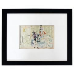 Mid-Century Modern Pablo Picasso King on Brown Horse Signed Framed Lithograph