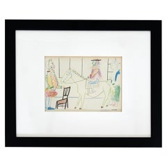 Mid-Century Modern Pablo Picasso King on White Horse Signed Framed Lithograph