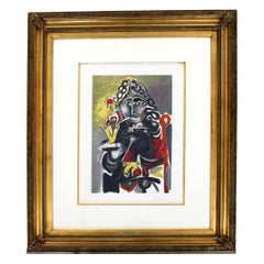 Mid-Century Modern Pablo Picasso Musketeer A La Pipe 235/300 Litho Framed 1940s