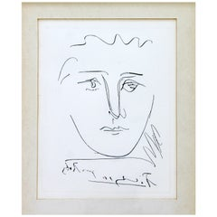 Mid-Century Modern Pablo Picasso Pour Robie Etching Framed 1950s Portrait