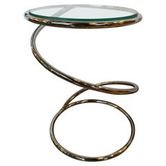 "Mid-Century Modern Pace Collection ""Spring"" Chrome and Glass Side / End Table"