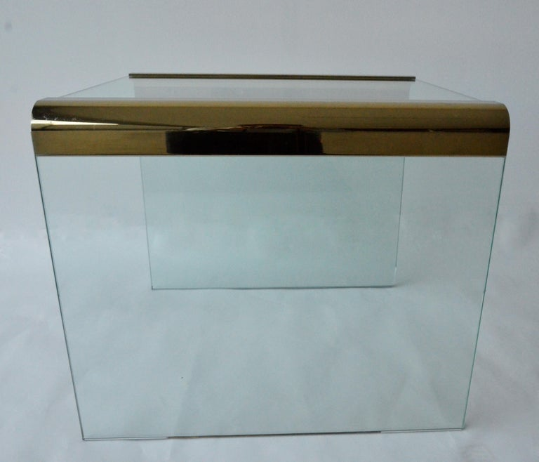 Pace Waterfall 3 Sided Glass Sheet Held by Brass Bars End or Side Table For Sale 7