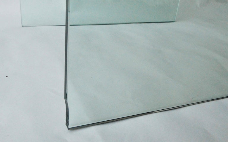 Pace Waterfall 3 Sided Glass Sheet Held by Brass Bars End or Side Table For Sale 8