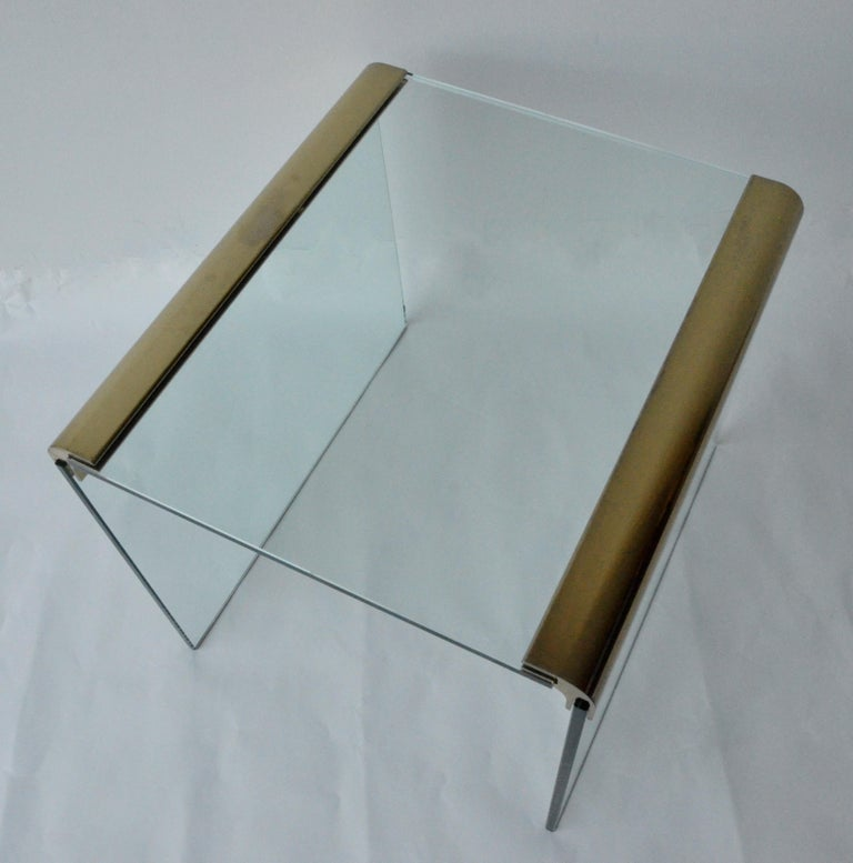 American Pace Waterfall 3 Sided Glass Sheet Held by Brass Bars End or Side Table For Sale