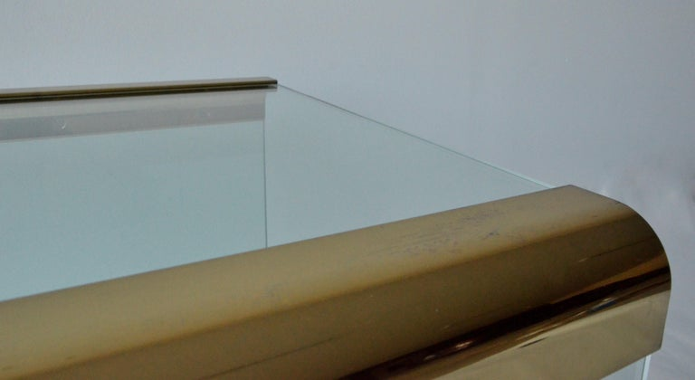 Pace Waterfall 3 Sided Glass Sheet Held by Brass Bars End or Side Table For Sale 1