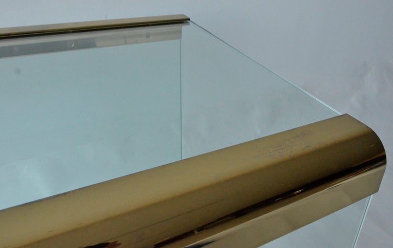 Pace Waterfall 3 Sided Glass Sheet Held by Brass Bars End or Side Table For Sale 2