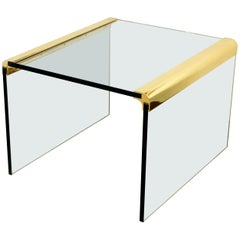 Mid-Century Modern Pace Waterfall Side End Table Brass and Glass, 1970s