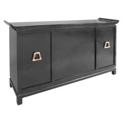 Mid-Century Modern Pagoda Style Black Lacquer Bar Cabinet by James Mont