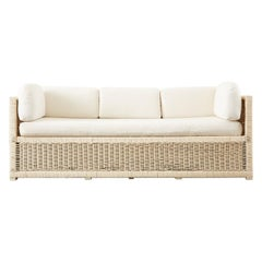 Mid-Century Modern Painted Wicker Rattan Case Sofa Settee