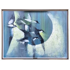 Mid-Century Modern Painting of Birds in Flight by Romanian Artist Chichicov